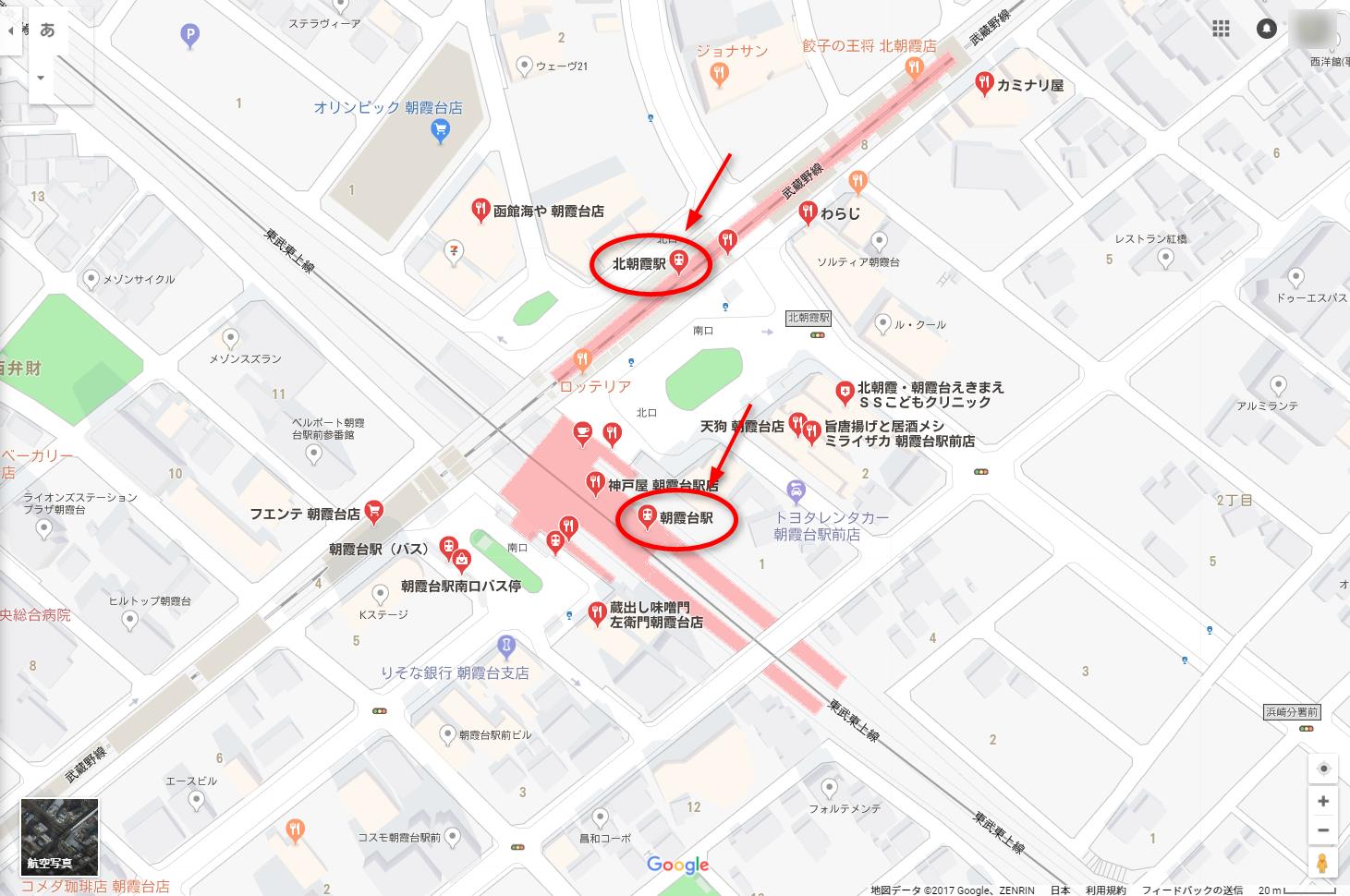 朝霞台駅と隣接している北朝霞駅