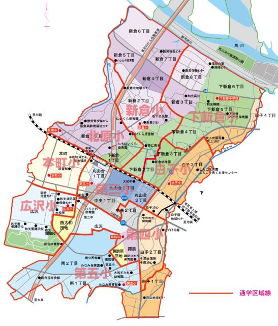 和光市駅の小学校通学マップ