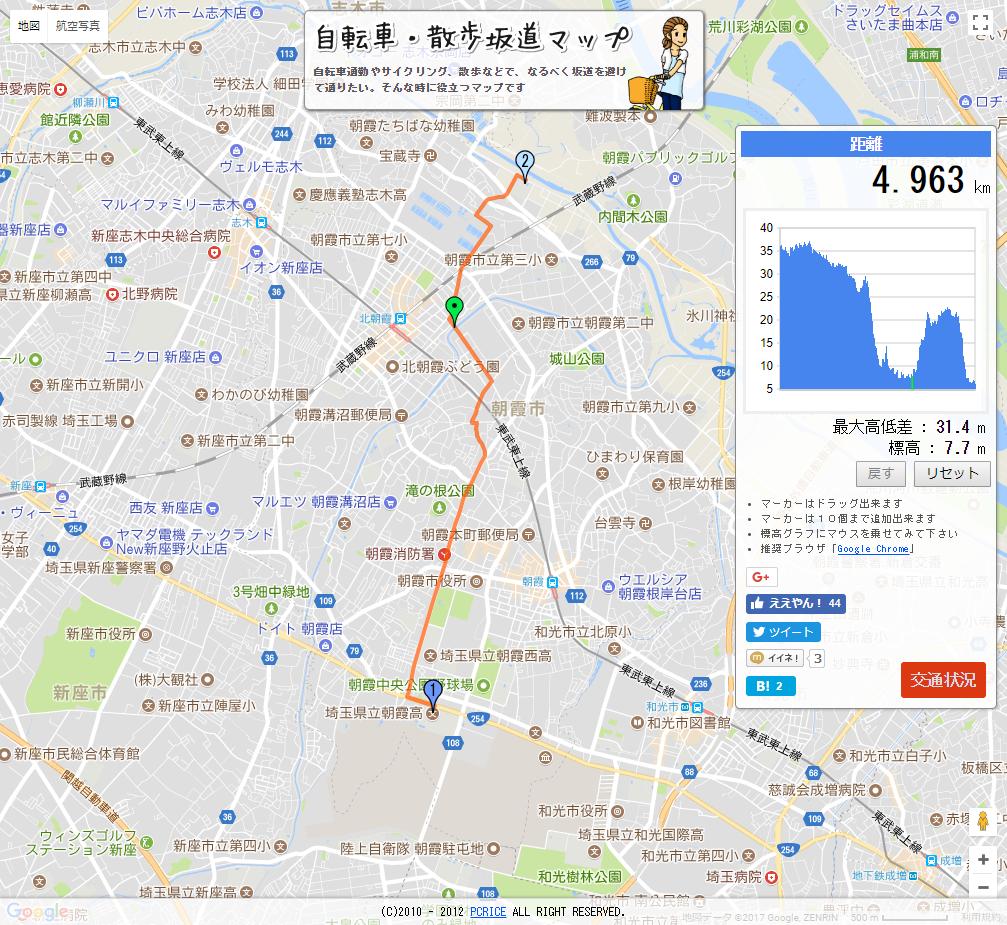 朝霞市の坂道マップ